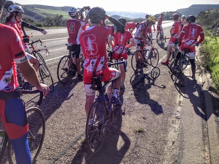 A fraction of the Stanford group on a ride in Southern California.